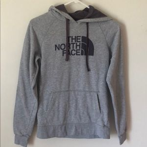 grey and purple north face sweatshirt